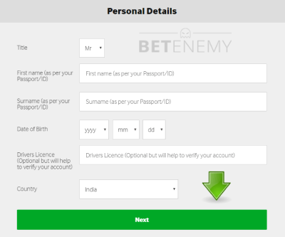 Betway's promo code field for India